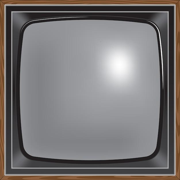 Tv in stile retrò con schermo quadrato Vettore Premium
