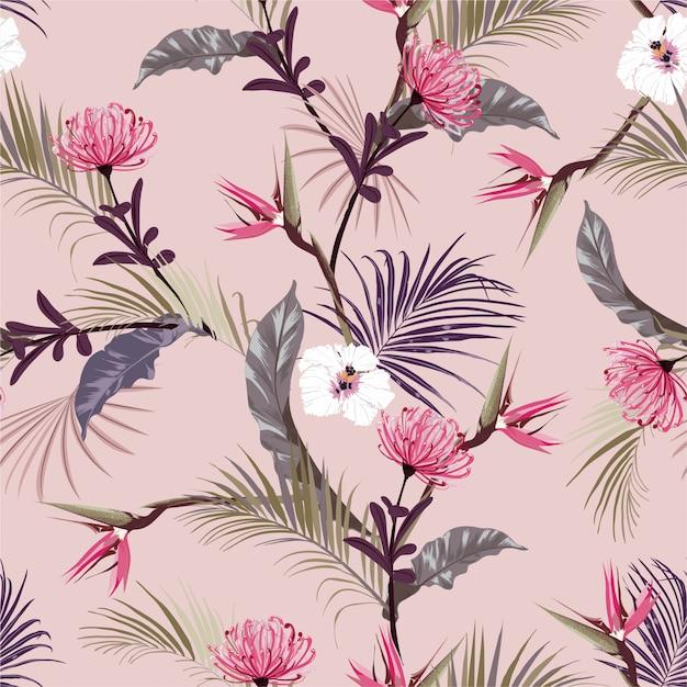Giungle tropicali dolci retrò con fiori esotici, motivo floreale senza soluzione di continuità di ibisco Vettore Premium