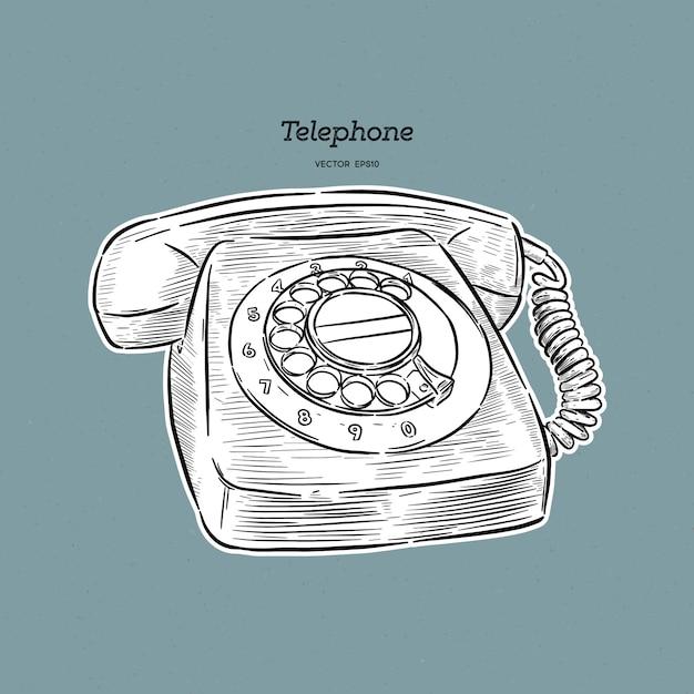 Retro illustrazione del telefono Vettore Premium