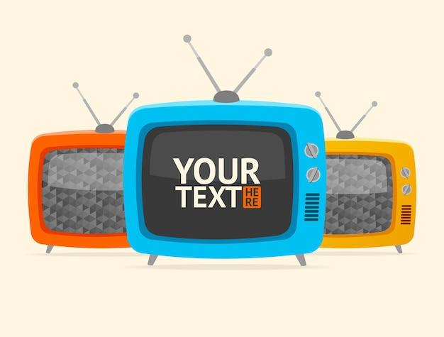 Tv retrò. , vuoto, banner, può essere utilizzato per presentazioni aziendali o aziendali Vettore Premium