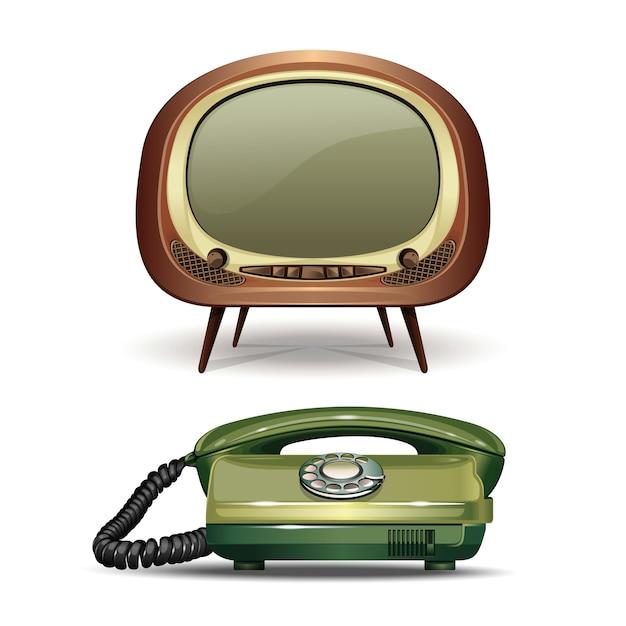 Tv retrò e telefono con linea vintage. set di realistico Vettore Premium