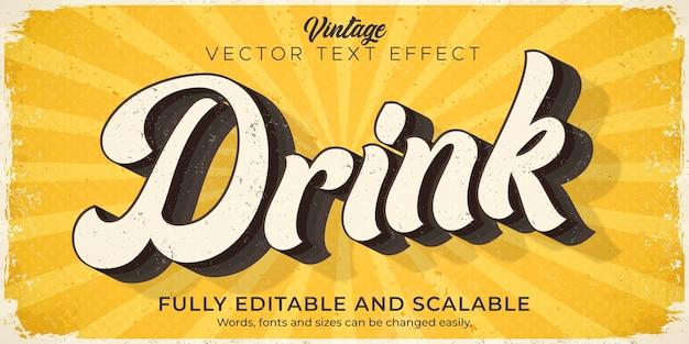 Effetto di testo retrò, vintage, stile di testo modificabile degli anni '70 e '80 Vettore Premium