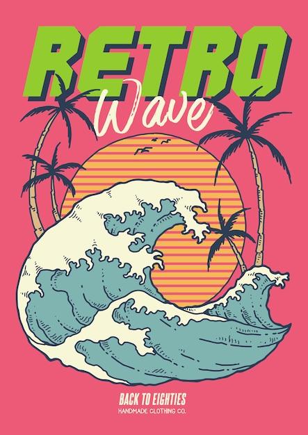 L'illustrazione di retro onda 80 con il tramonto dell'oceano e gli alberi di noce di cocco nell'illustrazione d'annata di vettore Vettore Premium