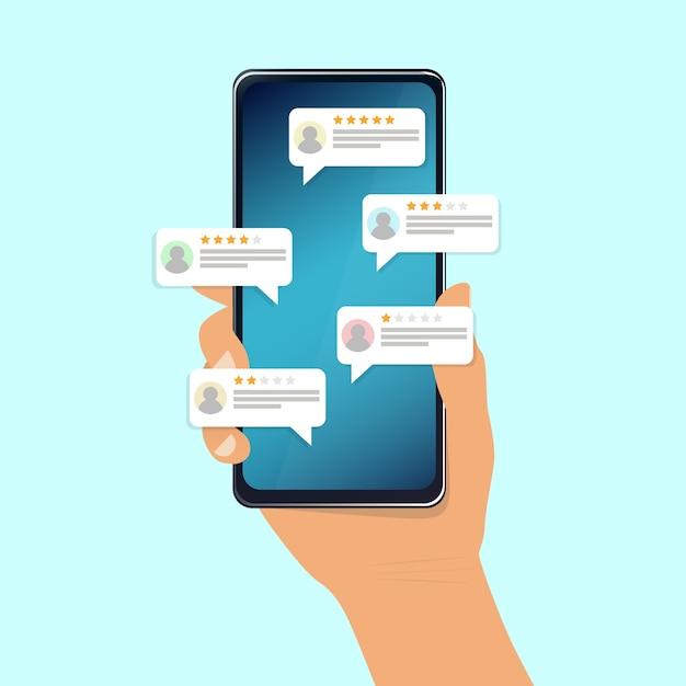 Revisione, feedback, discorso bolla di valutazione su smartphone. illustrazione Vettore Premium