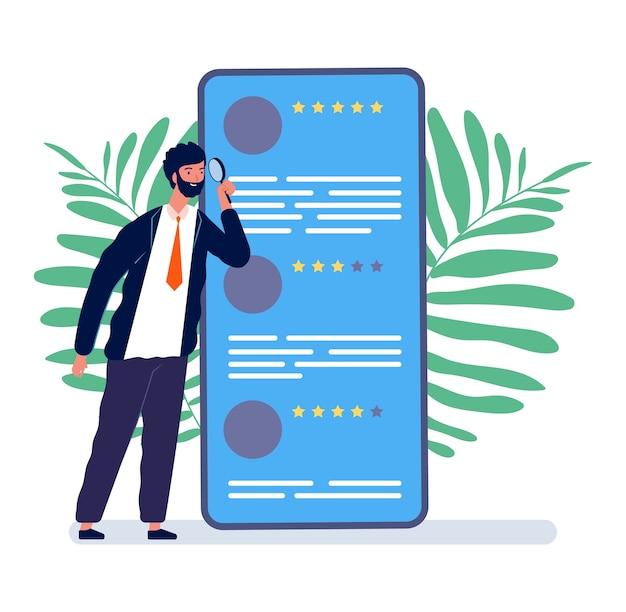 Concetto di recensioni. uomo che guarda il feedback online. revisione mobile, illustrazione del modulo di qualità del cliente. smartphone uomo e feedback Vettore Premium
