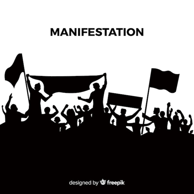 Composizione di rivoluzione con silhouette di persone che protestano Vettore Premium