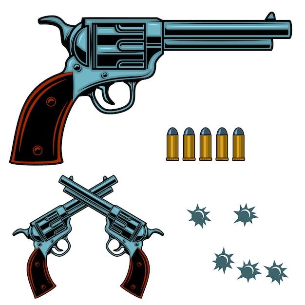 Revolver illustrazione colorata. proiettili e fori di pistola. elemento per poster, emblema, segno, banner. immagine Vettore Premium