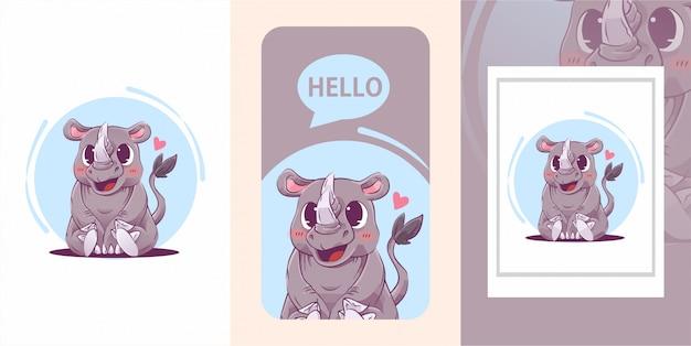 Rhino baby carino illustrazione Vettore Premium