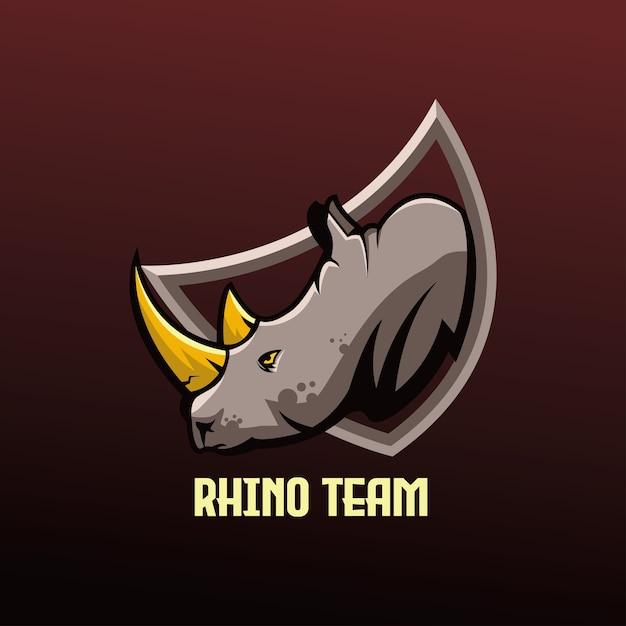 Squadra di gioco di esports mascotte di rinoceronte Vettore Premium