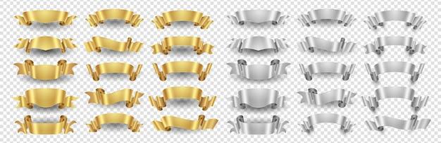 Striscioni a nastro. set di nastri in oro argento. striscioni metallici isolati su sfondo trasparente. illustrazione nastro oro e argento decorazione di design Vettore Premium