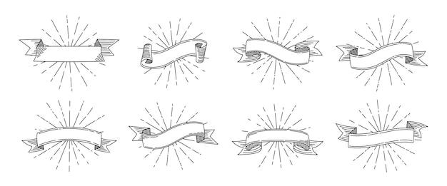 Set retrò del nastro. vecchio nastro con raggi di luce, raccolta di nastri in bianco del fumetto di schizzo Vettore Premium