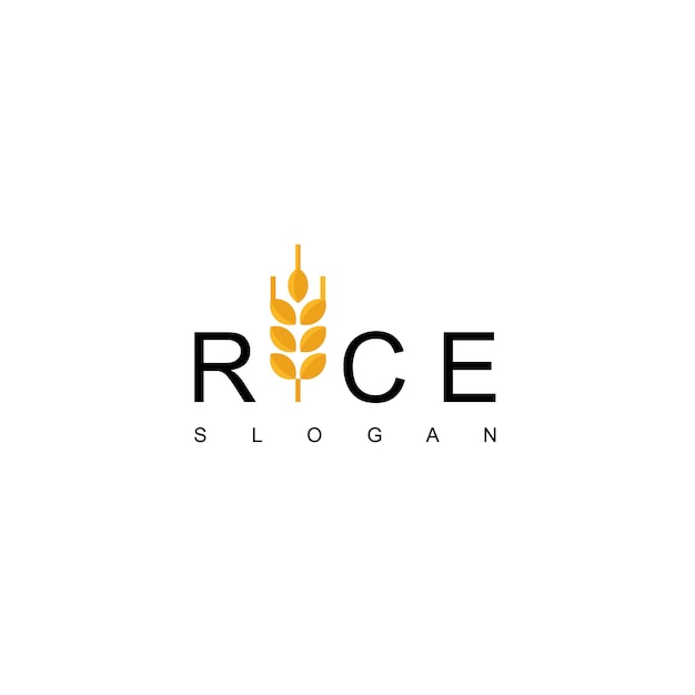 Rice logo design vector Vettore Premium