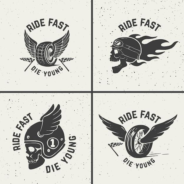 Ride veloce muori giovane. ruota disegnata a mano con le ali. cranio di racer. elemento per poster, carta, emblema, segno, etichetta. illustrazione Vettore Premium