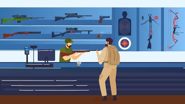 Riflerange, tiro a segno, uomo con fucile, pistole e illustrazione del fucile. Vettore Premium