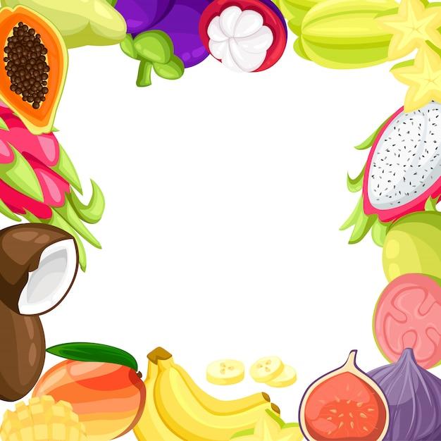 Insieme realistico delle fette e dei frutti tropicali maturi con le immagini dell'illustrazione della noce di cocco e del frutto della passione del pitaya del mango su fondo bianco. Vettore Premium