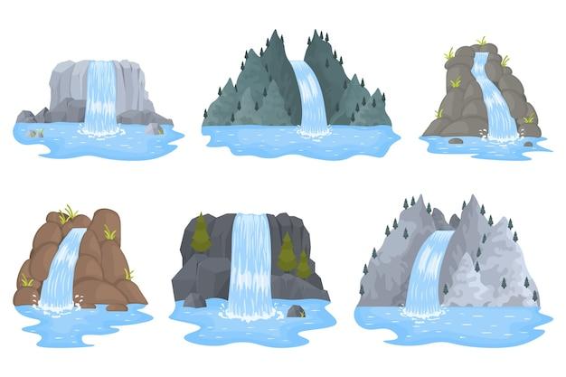 La cascata del fiume cade dalla scogliera. paesaggi, montagne e alberi. Vettore Premium