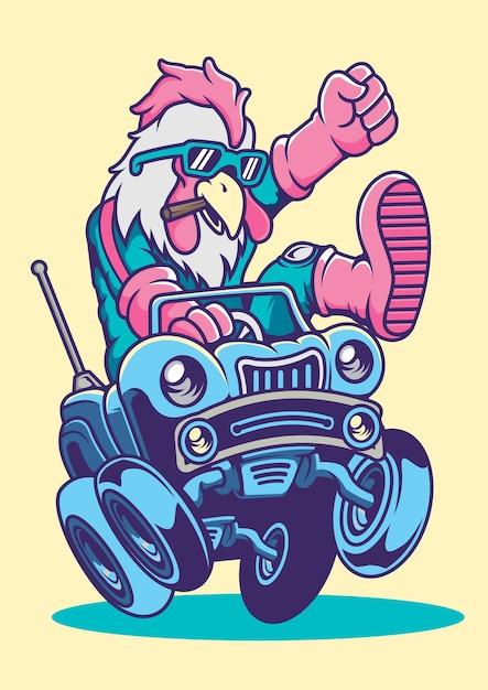 Illustrazione disegnata a mano di road rooster Vettore Premium