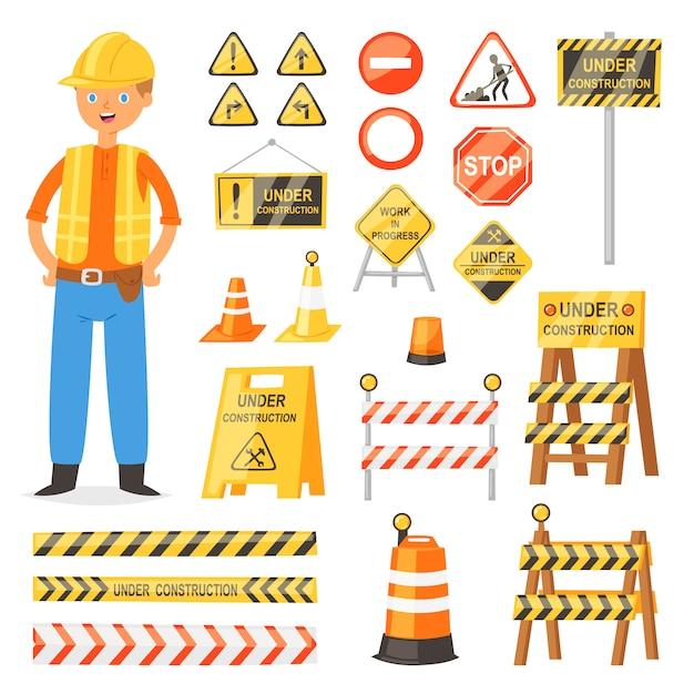 Segnale stradale segnaletica stradale blocchi di blocco e barricata su autostrada e generatore illustrazione di carattere set di deviazione di blocco stradale e barriera stradale bloccata isolato su sfondo bianco Vettore Premium