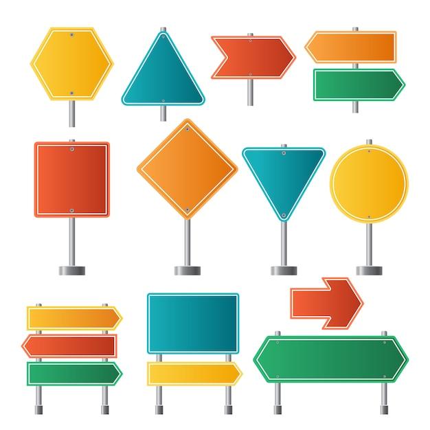 Segnali stradali. illustrazioni dei segnali stradali di viaggio di direzione della strada principale di traffico Vettore Premium