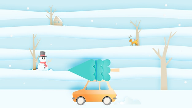 Road trip e winter landscape con stile art paper e combinazioni di colori pastello Vettore Premium