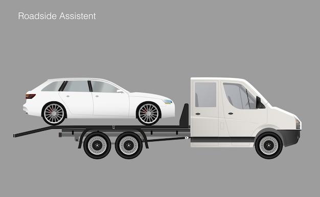 Automobile dell'illustrazione del camion di rimorchio di assistenza stradale. Vettore Premium