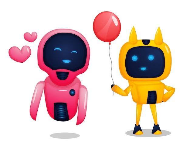 Illustrazione delle coppie del robot Vettore Premium