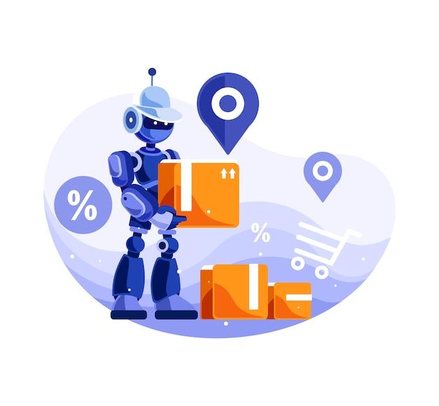 Servizio di consegna robot Vettore Premium
