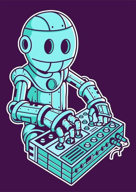 Illustrazione disegnata a mano di robot dj Vettore Premium