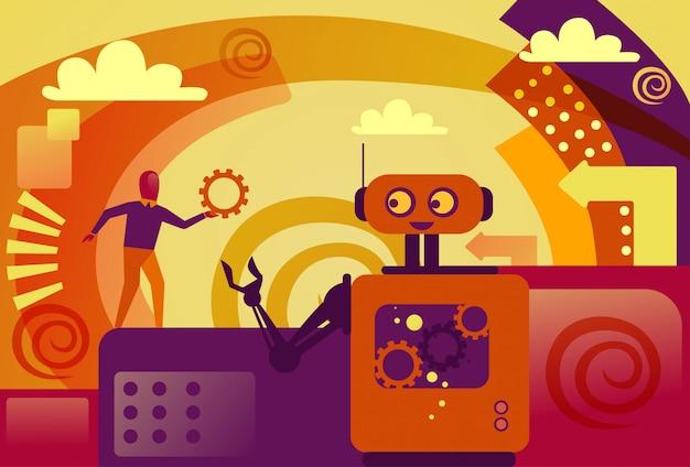 Robot che dà il supporto tecnico della ruota del dente dell'uomo di affari ed il concetto di intelligenza artificiale Vettore Premium