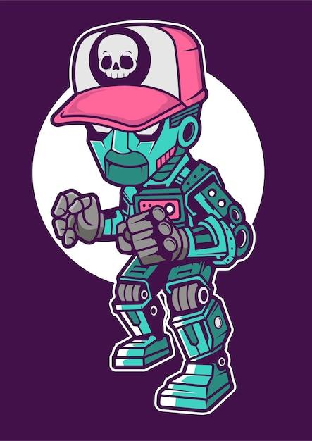 Illustrazione disegnata a mano di robot kid Vettore Premium