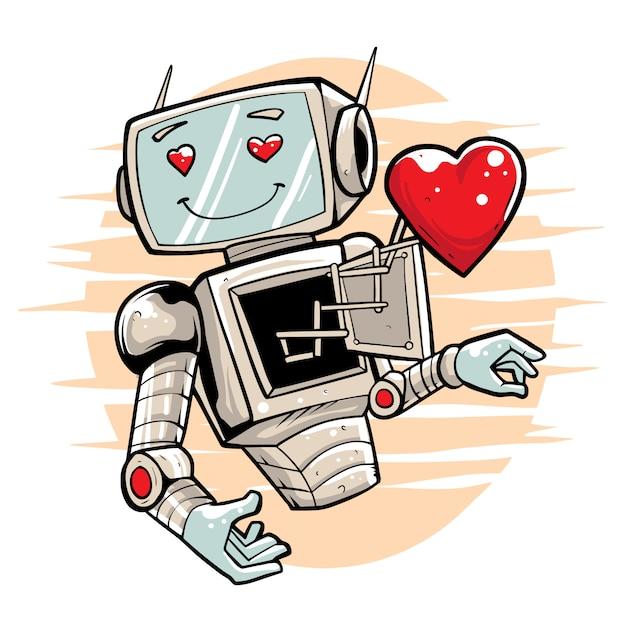 Robot innamorato illustrazione premium Vettore Premium