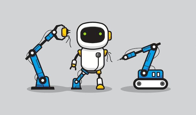 Processo di fabbricazione del robot Vettore Premium