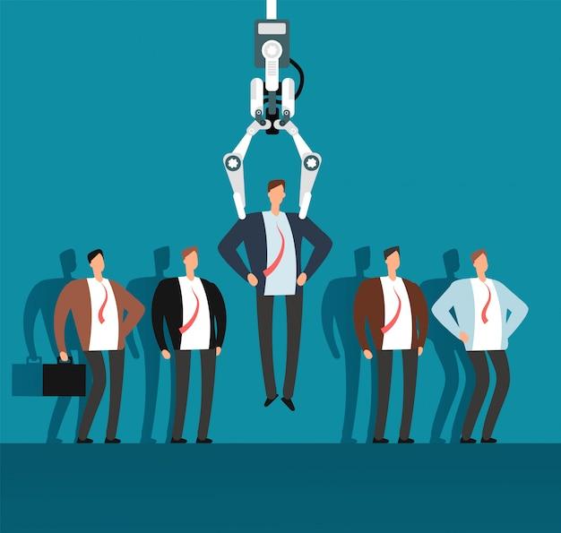 Reclutatore di robot con artiglio industriale che sceglie l'uomo dal gruppo di persone selezionato. assunzione, concetto di affari di vettore di agenzia di collocamento Vettore Premium