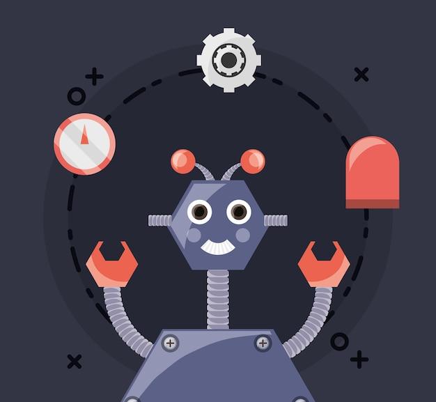 Design robotico con robot dei cartoni animati e relative icone in giro Vettore Premium
