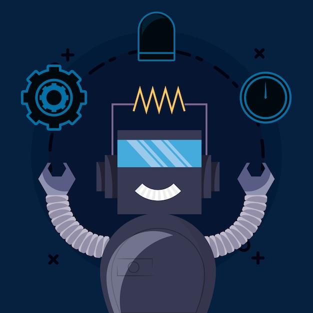 Design robot con robot dei cartoni animati e relative icone Vettore Premium