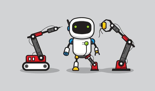 Processo di fusione robotico Vettore Premium