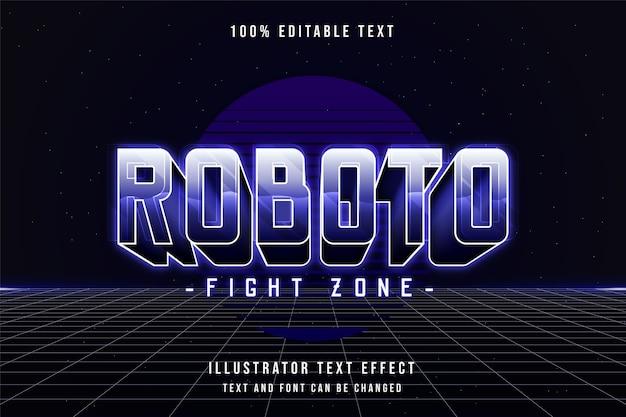 Zona di combattimento roboto, effetto di testo modificabile 3d viola sfumato 80s neon shadow text style Vettore Premium