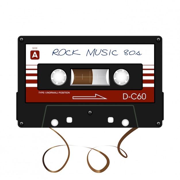 Musica rock. audiocassetta. illustrazione. Vettore Premium
