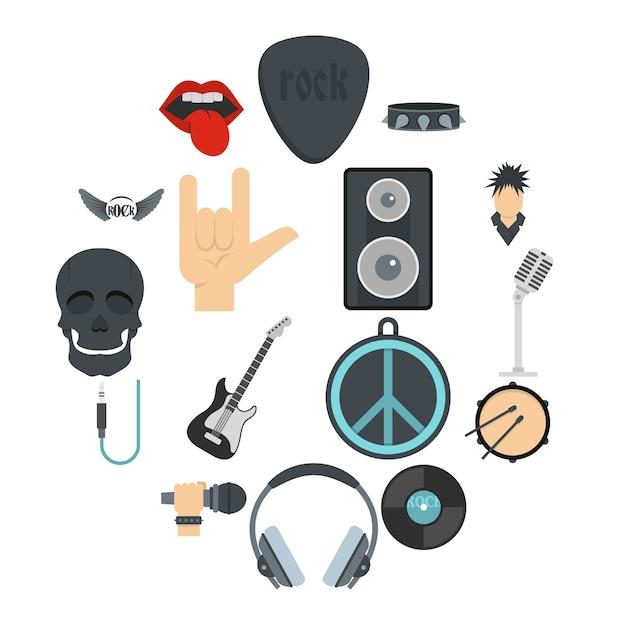 Icone di musica rock impostate in stile piano Vettore Premium