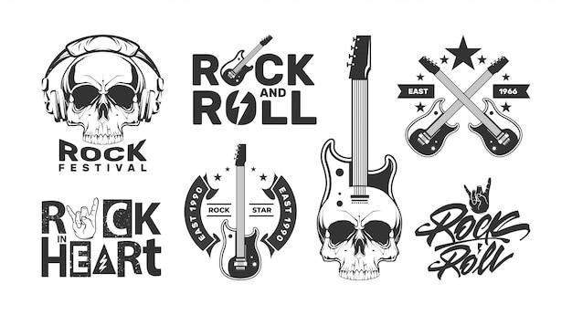 Loghi rock and roll con teschio. etichette di design per festival musicali. Vettore Premium