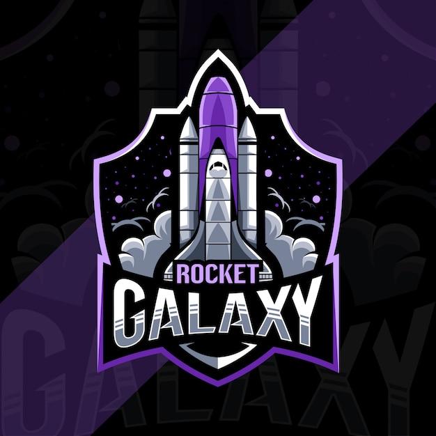 Progettazione del modello esport logo mascotte razzo galassia Vettore Premium