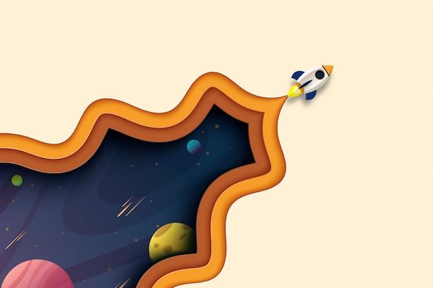 Il lancio di un razzo esplora nella galassia dello spazio cosmico modello di pagina di atterraggio carta tagliata sfondo astratto. Vettore Premium