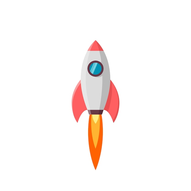 Lancio di un razzo. illustrazione su bianco Vettore Premium