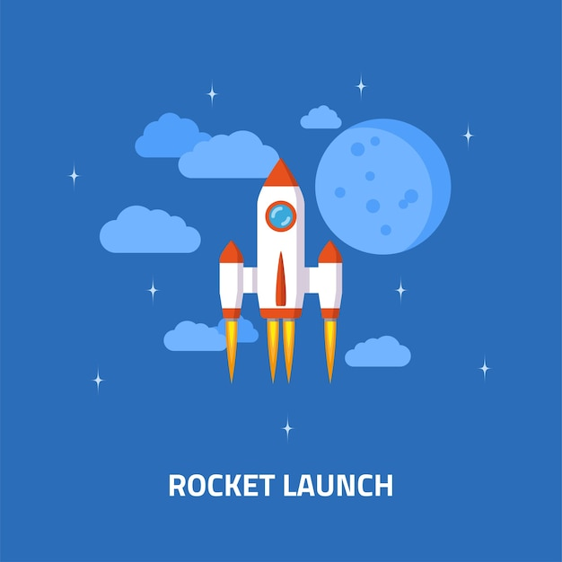 Lancio di un razzo, astronave. concetto di stile piatto di avvio aziendale. Vettore Premium