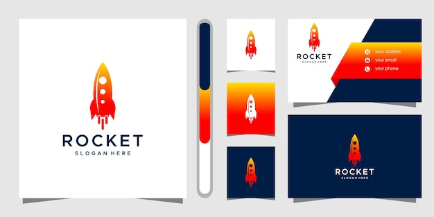 Modello di progettazione e biglietto da visita del logo del razzo. Vettore Premium