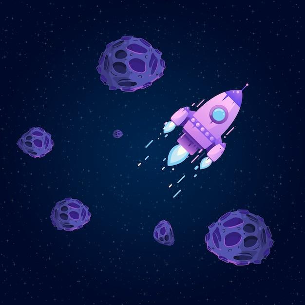 Razzo nello spazio tra stelle e asteroidi. comete volanti Vettore Premium