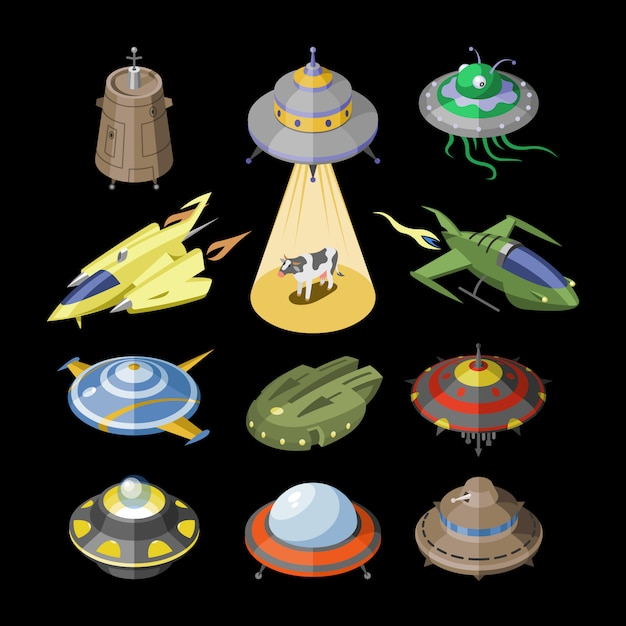 Razzo navicella spaziale o razzo spaziale e spacy ufo illustrazione set di nave spaziale o navicella spaziale volare nello spazio universo su sfondo nero Vettore Premium