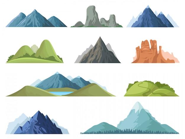 Montagne rocciose. paesaggio all'aperto delle cime delle montagne, picchi invernali, cima di una collina con alberi, set di illustrazione del paesaggio della valle della montagna. gamma rock, cima di ambiente roccioso di montagna Vettore Premium