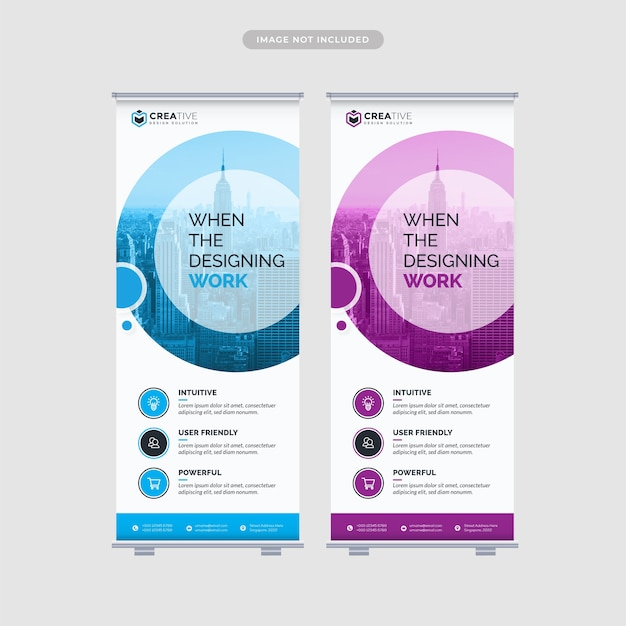 Roll up banner modello di progettazione Vettore Premium