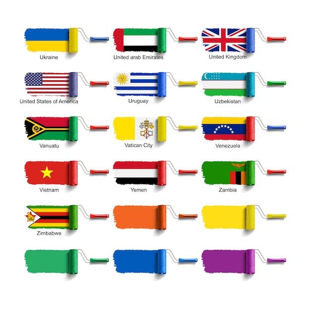 Spazzola a rullo con bandiera nazionale Vettore Premium